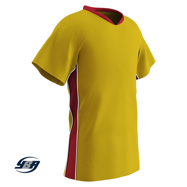 header soccer jersey yellow with red
