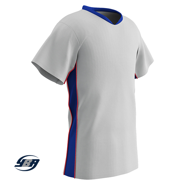 header soccer jersey white with royal and red