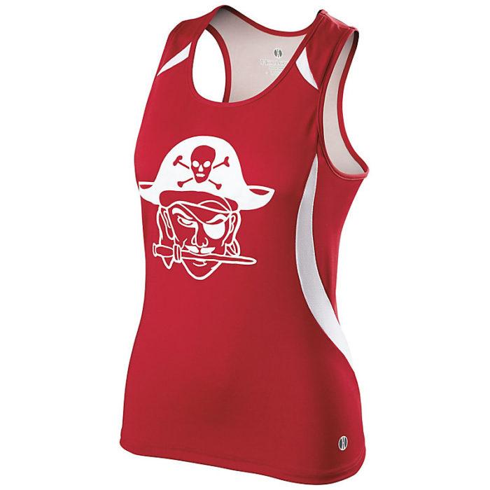 ladies sprinter singlet red with logo